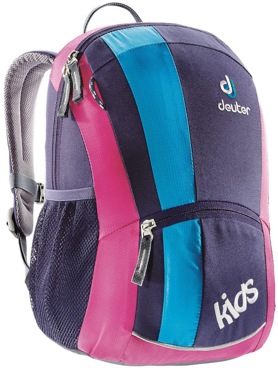 Рюкзак детский Deuter Kids, цвет: фиолетовый, 12 лRU-704-3/1Этот маленький рюкзачок Deuter Kids доставит много радости во время прогулки. Веселая цветовая гамма обрадует любых девчонок и мальчишек от 3 лет и старше.Особенности: Мягкая спинка; S-образные плечевые лямки с мягкими краями; Боковые сетчатые карманы; Именная бирка внутри; Отражатель 3M спереди и на переднем кармане с молнией для безопасности; Потайной карманчик на молнии сверху; Петли для пристежки разных мелочей. Материал: SuperPolytex. Вес: 300 г. Объем: 12 л. Размеры: 36 x 22 x 18 см.