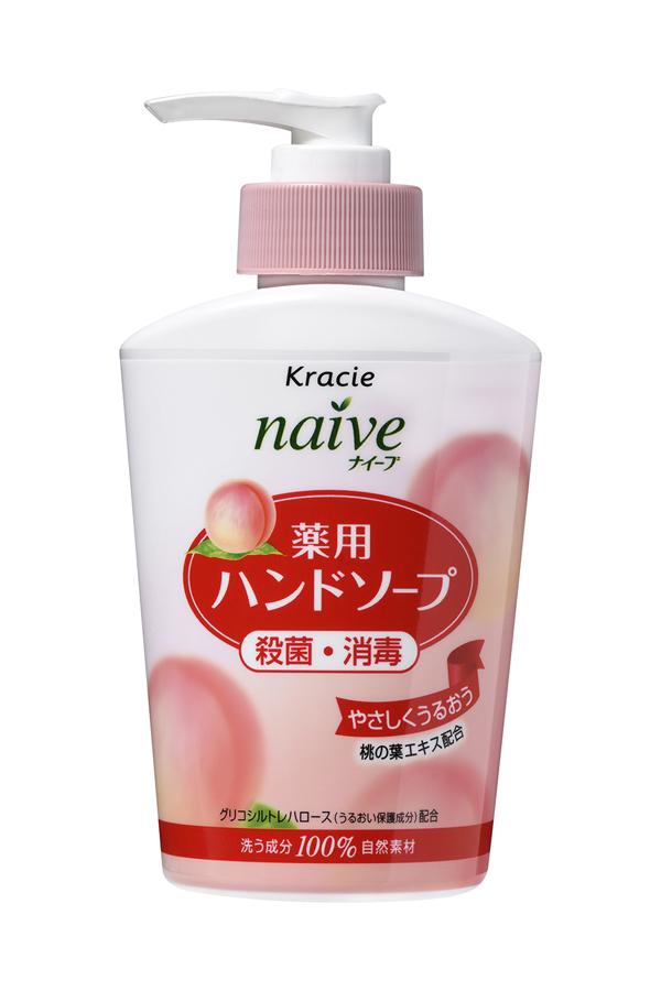 Kracie 17751 Naive Мыло жидкое для рук с экстрактом листьев персикового дерева, 250 млCRS-80270154Жидкое мыло с очищающими компонентами растительногопроисхождения и гликозилтрегалозой (увлажняющее исмягчающее кожу рук вещество аминокислотной группы) мягкоочищает и увлажняет кожу рук. Обладает антибактериальным идезодорирующим эффектами. С экстрактом листьевперсикового дерева.