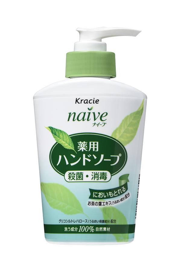 Kracie 17752 Naive Мыло жидкое для рук с экстрактом чайного листа, 250 мл5010777142037Жидкое мыло с очищающими компонентами растительногопроисхождения и гликозилтрегалозой (увлажняющее исмягчающее кожу рук вещество аминокислотной группы) мягкоочищает и увлажняет кожу рук. Обладает антибактериальным идезодорирующим эффектами. С экстрактом чайного листа