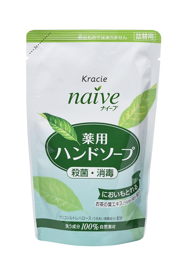 Kracie 17762 Naive Мыло жидкое для рук с экстрактом чайного листа (сменная упаковка), 200 мл5010777139655Жидкое мыло с очищающими компонентами растительногопроисхождения и гликозилтрегалозой (увлажняющее исмягчающее кожу рук вещество аминокислотной группы) мягкоочищает и увлажняет кожу рук. Обладает антибактериальным идезодорирующим эффектами. С экстрактом чайного листа