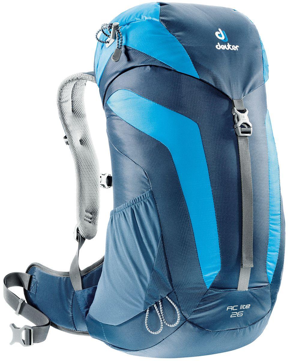 Рюкзак туристический Deuter AC Lite, цвет: синий, голубой, 26 л3420316_3306Компактный, спортивный рюкзак идеально подходит для людей, предпочитающих пешие прогулки. Система подвески AirComfort с великолепной вентиляцией и легкие материалы в конструкции делают рюкзак настолько удобными, что вы забудете, что у вас за спиной рюкзак.Особенности: - система Aircomfort; - анатомические мягкие плечевые лямки; - карман в верхнем клапане; - внутренние карманы на молниях; - практичный замок на клапане; - петли для трекинговых палок; - боковые эластичные карманы; - совместимость с питьевой системой;- съёмный чехол от дождя;- светоотражающий принт.Размеры рюкзака: 54 х 30 х 18 см.