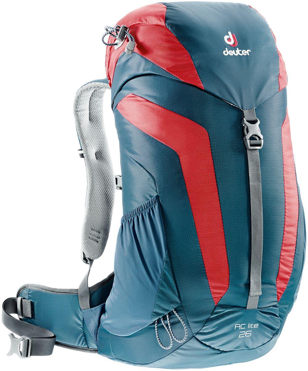 Рюкзак туристический Deuter AC Lite, цвет: синий, красный, 26 л3420316_3514Компактный, спортивный рюкзак идеально подходит для людей, предпочитающих пешие прогулки. Система подвески AirComfort с великолепной вентиляцией и легкие материалы в конструкции делают рюкзак настолько удобными, что вы забудете, что у вас за спиной рюкзак.Особенности: - система Aircomfort; - анатомические мягкие плечевые лямки; - карман в верхнем клапане; - внутренние карманы на молниях; - практичный замок на клапане; - петли для трекинговых палок; - боковые эластичные карманы; - совместимость с питьевой системой;- съёмный чехол от дождя;- светоотражающий принт.Размеры рюкзака: 54 х 30 х 18 см.