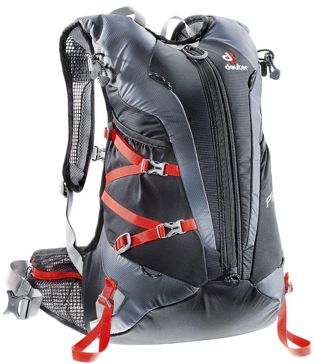 Рюкзак спортивный Deuter Pace, цвет: черный, серый, 20 л3300015_7490Уменьшение веса равно уменьшению усилий. Вот почему команда дизайнеров Pace следует лозунгу Вы это едва чувствуете. Легкие крылья пояса анатомической формы и лямки из сетчатой ткани обеспечивают легкую подгонку. Особенности: 3М отражатели спереди и сзади; Боковые карманы; Крепления для кошек и ледоруба; Карман для ценных вещей; Совместимо с гидросистемой; Крепление для лыж; Карман-клапан для перчаток, шлема; Вес: 630 г. Размеры: 48 х 28 х 20 см. Объем: 20 л.
