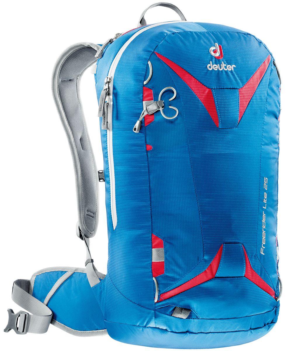 Рюкзак спортивный Deuter Freerider Lite, цвет: синий, красный, 25 л3303017_3516Рюкзак спортивный Deuter Freerider Lite - удобный рюкзак для бэккантри и фрирайда. Особенности: - сноуборд и снегоступы могут быть прикреплены в вертикальном положении; - стропы крепления позволяют переносить снегоступы в центре, сбоку и по диагонали; - две петли ледоруба, которые могут убираться; - большое отделение для лавинной лопаты и лейбл SOS; - отделение для зонда; - боковые компрессионные ремни; - стабилизирующие ремни; - совместим с питьевой системой; - съемная фиксация шлема; - внешнее отделение на молнии для маски или очков с флисовой обивкой изнутри; - отделение для влажной одежды; - петли для снаряжения и карман на молнии на поясе, система Vari Flex , съемный пояс; - 3M отражатель; - съемная сидушка; Материал: 100D Pocket Rip Mini.Вес: 940 грамм.Объём 25 литров. Размеры: 56 x 28 x 20 см.