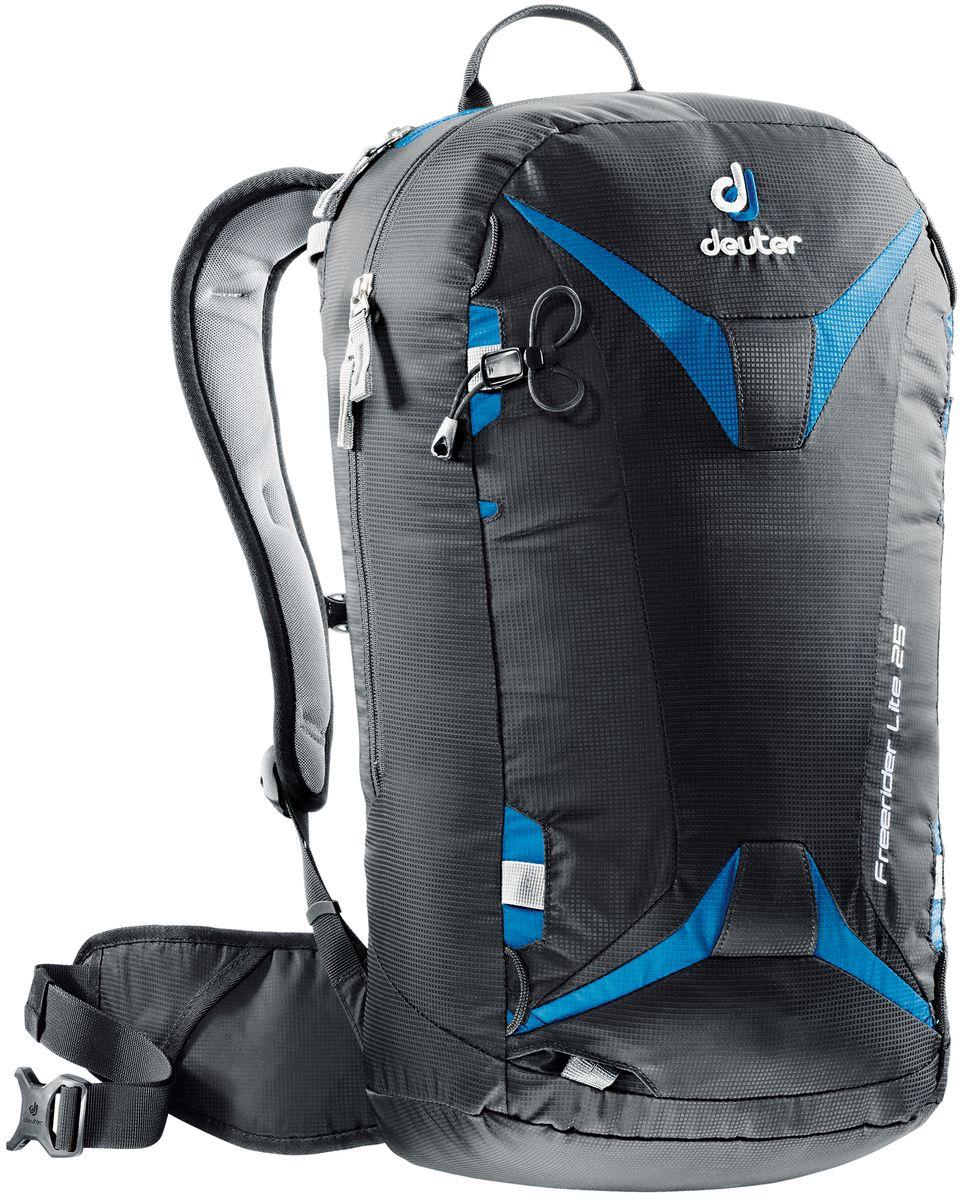 Рюкзак спортивный Deuter Freerider Lite, цвет: черный, синий, 25 л3303017_7303Рюкзак спортивный Deuter Freerider Lite - удобный рюкзак для бэккантри и фрирайда. Особенности: - сноуборд и снегоступы могут быть прикреплены в вертикальном положении; - стропы крепления позволяют переносить снегоступы в центре, сбоку и по диагонали; - две петли ледоруба, которые могут убираться; - большое отделение для лавинной лопаты и лейбл SOS; - отделение для зонда; - боковые компрессионные ремни; - стабилизирующие ремни; - совместим с питьевой системой; - съемная фиксация шлема; - внешнее отделение на молнии для маски или очков с флисовой обивкой изнутри; - отделение для влажной одежды; - петли для снаряжения и карман на молнии на поясе, система Vari Flex , съемный пояс; - 3M отражатель; - съемная сидушка; Материал: 100D Pocket Rip Mini.Вес: 940 грамм.Объём 25 литров. Размеры: 56 x 28 x 20 см.