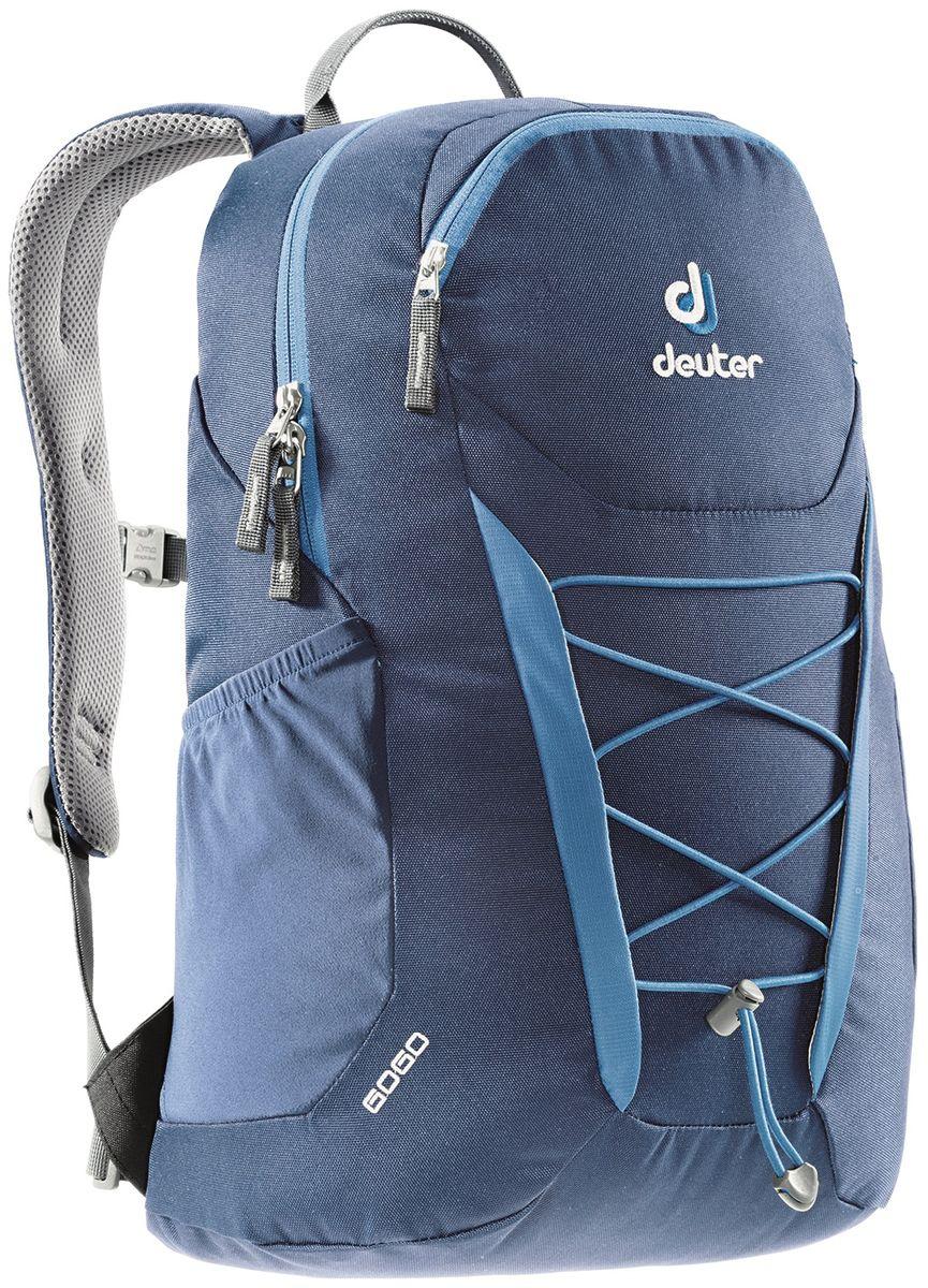 Рюкзак Deuter Gogo, цвет: синий, 25 лГризлиПредставляем обновленный, обтекаемый, с техническим дизайном рюкзак Deuter Gogo для школы, офиса и на каждый день. В нем сохранились все практичные опции, и добавилась новая комфортная подвесная система.Особенности: - спинка Airstripes для великолепной вентиляции;- очень комфортные, эргономичные, мягкие плечевые лямки;- легкий доступ в основное отделение через двухходовую U-образную молнию;- передний карман на молнии с карабином для ключей;- эластичные боковые карманы;- нагрудный ремешок с плавной регулировкой;- сменный поясной ремень;- главное отделение размером папки для бумаг;- отделение для документов;- эластичный корд на фронтальной части рюкзака;- внутренний карман для ценных вещей.Вес: 590 г.Объем: 25 л.Размеры: 46 x 30 x 21 см.Материал: Super-Polytex.
