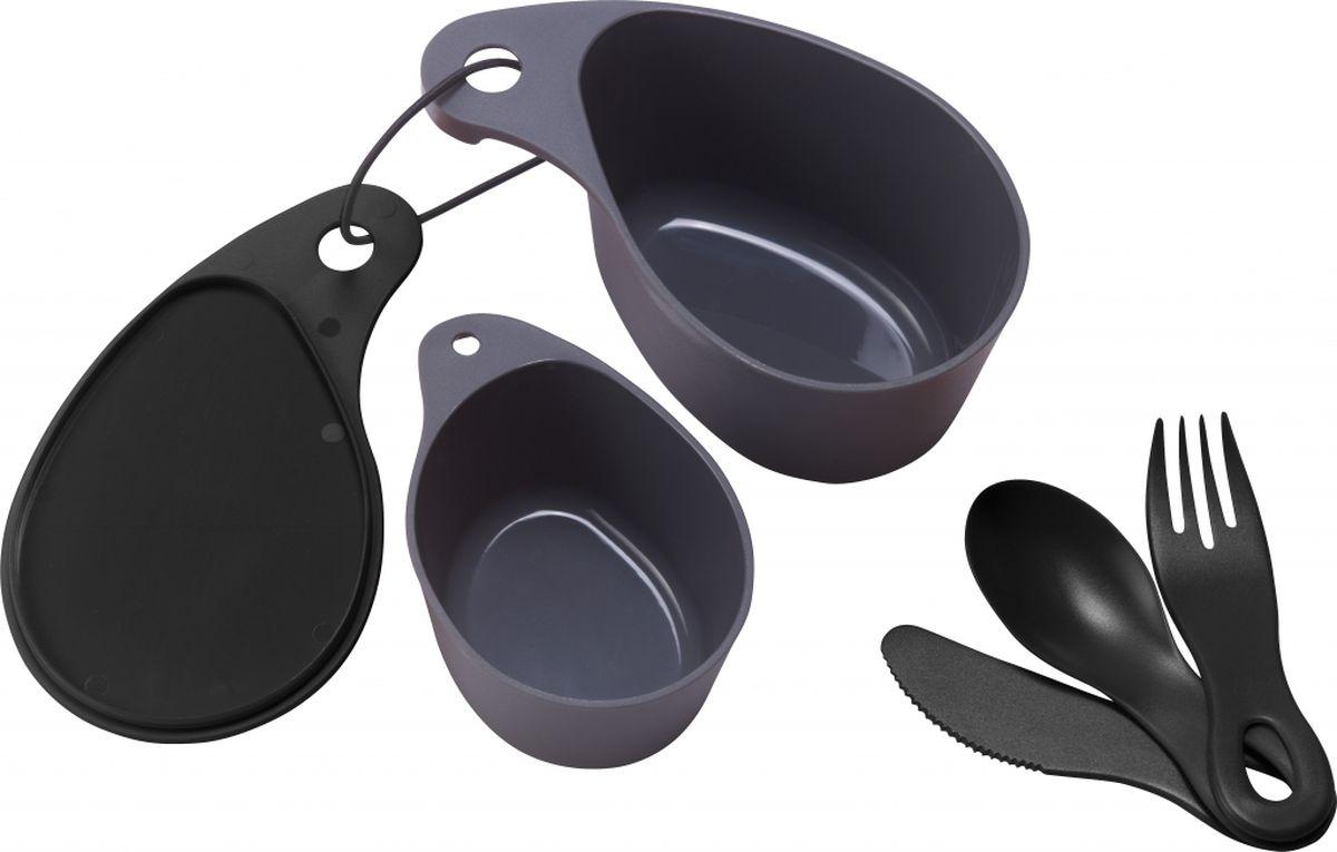 Набор посуды Primus Field Cup Set, компактный, цвет: черный. P734701650288Универсальный набор посуды для походов и путешествий-пищевой пластик-миска для еды с крышкой (400 мл), чашка (200 мл), ложка, вилка, нож-предметы скрепляются с помощью карабина, входящего в набор-габариты 170*100*73 мм-вес 156 гр