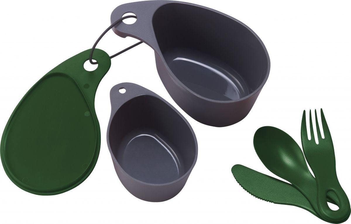 Набор посуды Primus Field Cup Set, компактный, цвет: зеленый. P734702650357Универсальный набор посуды для походов и путешествий-пищевой пластик-миска для еды с крышкой (400 мл), чашка (200 мл), ложка, вилка, нож-предметы скрепляются с помощью карабина, входящего в набор-габариты 170*100*73 мм-вес 156 гр