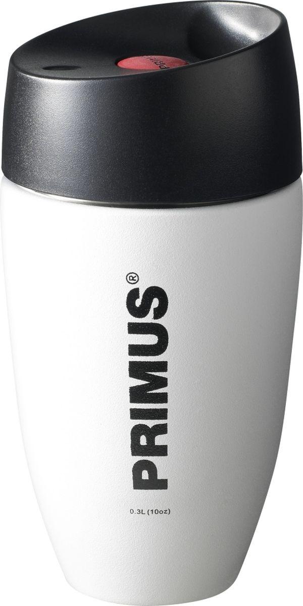 Термокружка Primus C&H Vacuum Mug, цвет белый, 300 мл. P737924737914Компактная термокружка, сохраняющая температуру напитка около 6 часов. Корпус изготовлен из нержавеющей стали с порошковым покрытием, а крышка имеет силиконовый уплотнитель и кнопку открытия-закрытия. Размер: 79-160 ммОбъем: 0,3 лВес: 235 гр