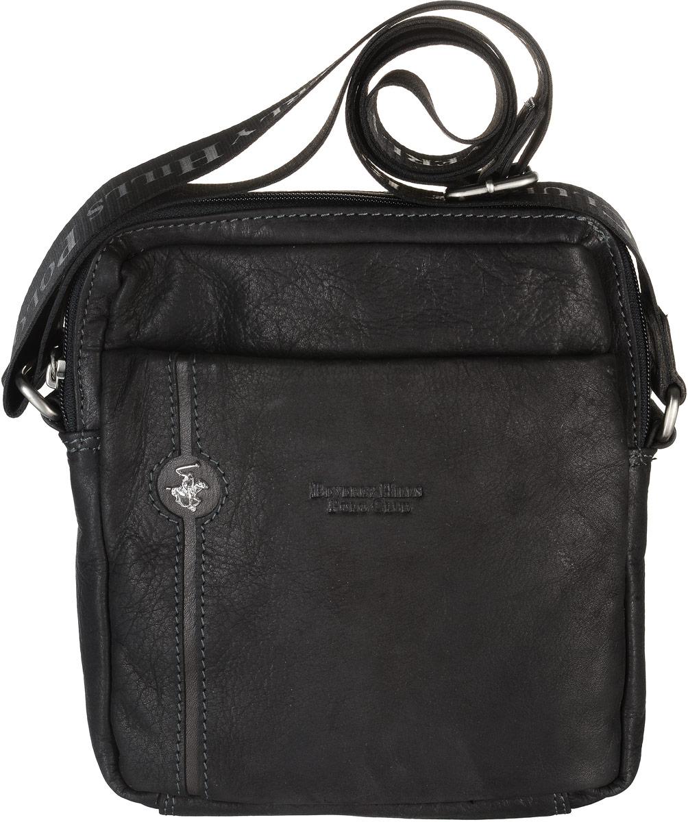 Сумка-планшет мужская Beverly Hills Polo Club, цвет: черный. 382EQW-M710DB-1A1Компактная сумка-планшет Beverly Hills Polo Club выполнена из натуральной фактурной кожи и дополнена металлическим логотипом бренда. Модель имеет два основных отделения, каждое из которых закрывается на застежку-молнию. В одном отделении расположен карман под телефон и два кармана под ручки, в другом отделении - мягкий карман для планшета. Снаружи, с фронтальной и с тыльной сторон сумки расположены карманы на застежках-молниях.Изделие оснащено длинным регулируемым наплечным ремнем, который крепится к сумке с помощью металлических элементов.Сумка Beverly Hills Polo Club станет ярким и оригинальным подарком для человека, ценящего практичные и качественные вещи.