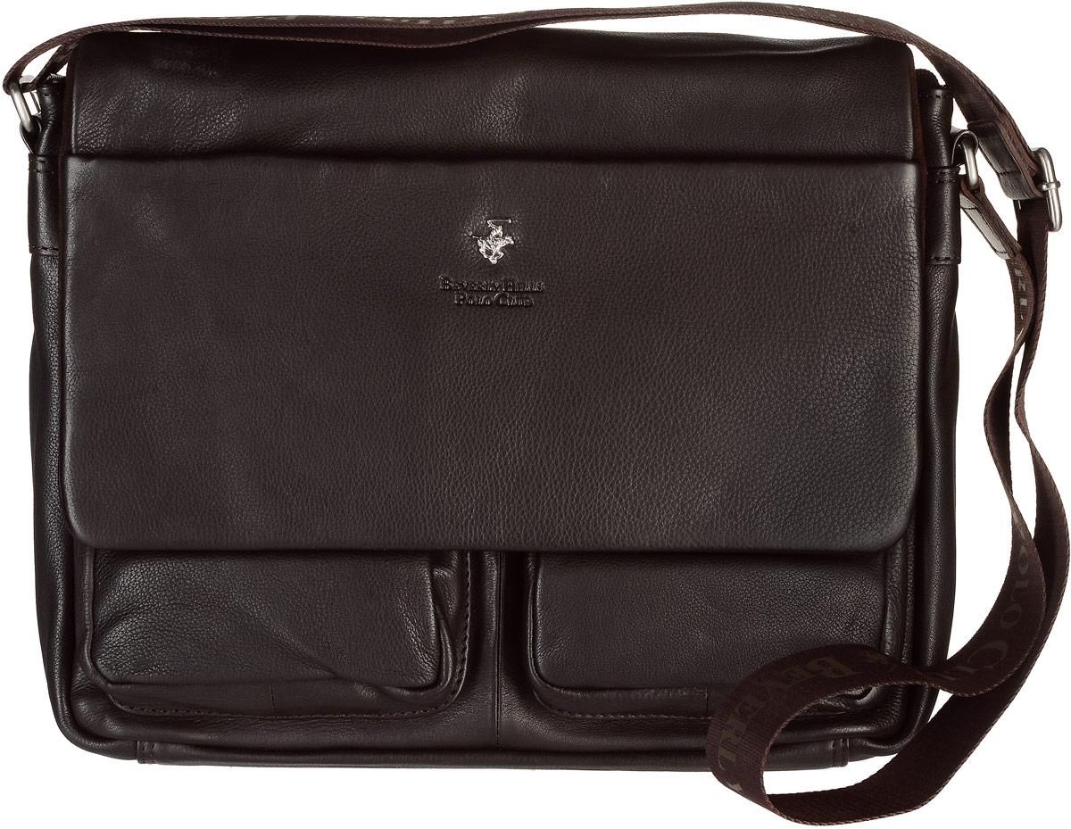 Сумка мужская Beverly Hills Polo Club, цвет: темно-коричневый. 303EQW-M710DB-1A1Мужская сумка Beverly Hills Polo Club выполнена из натуральной кожи с фактурным тиснением. Сумка закрывается на застежку-молнию и клапан на двух магнитных кнопках. Модель имеет одно основное отделение, где расположены карман под телефон, два держателя под канцелярские принадлежности, а также специальный мягкий карман для планшета.Снаружи, с фронтальной стороны сумки расположены два объемныхоткрытых накладных кармана, прорезной карман на застежке-молнии, а также имеется дополнительный карман на клапане сумки, закрывающийся с помощью молнии.С тыльной стороны сумки расположен вшитый карман на застежке-молнии. Изделие оснащено регулируемым наплечным ремнем, который крепится к сумке с помощью металлических элементов.Сумка Beverly Hills Polo Club станет ярким и оригинальным подарком для человека, ценящего практичные и качественные вещи.