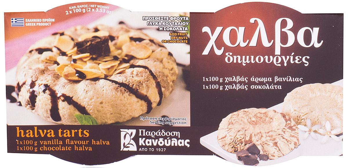 Kandylas халва ваниль-шоколад, 2 шт по 100 г0120710Греческие сладости - халва кунжутная с ванилью и шоколадом.