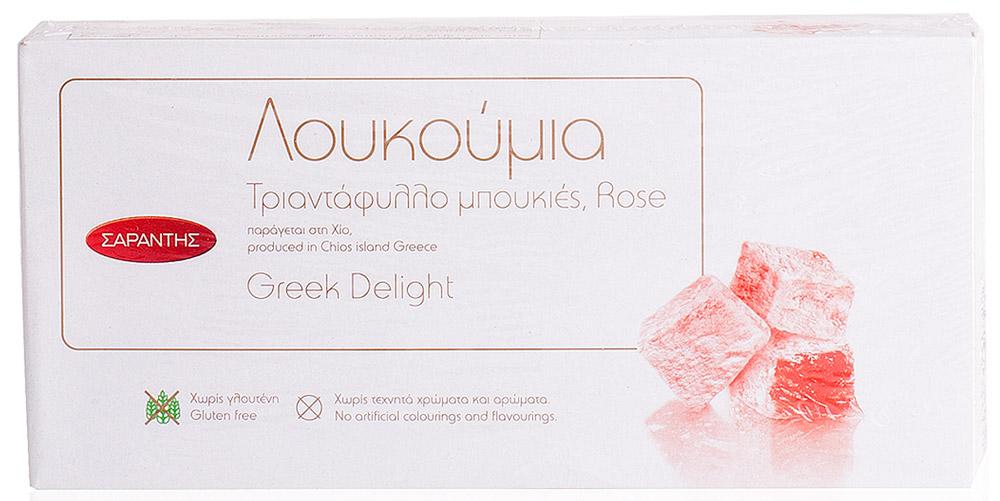 Sarantis лукум роза, 400 г0120710Лукум с ароматными лепестками роз с острова Хиос.