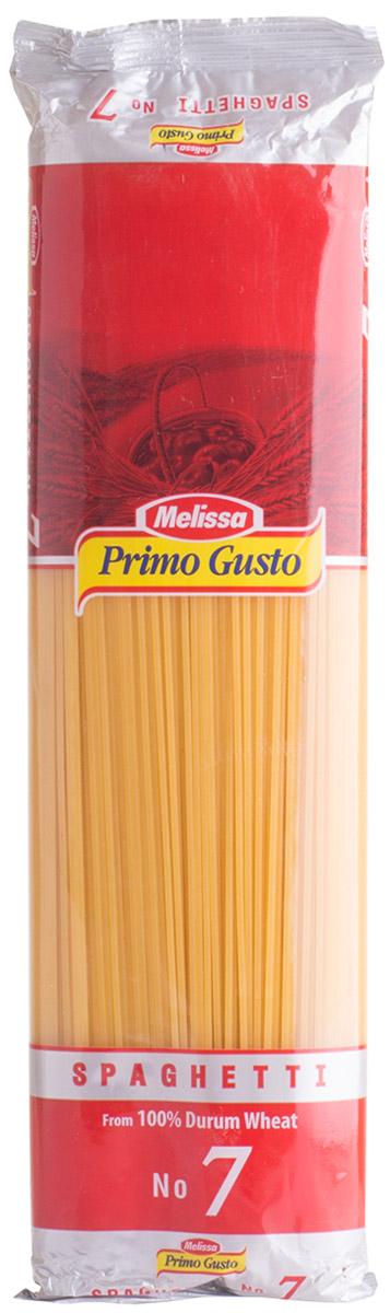 Melissa-Primo Gusto спагетти №7, 500 г0120710Макаронные изделия Melissa Primo Gusto производятся исключительно из семолины - муки твердых сортов пшеницы специального (грубого) помола.Семолина используется для приготовления пасты, каши, пудингов и кускуса.