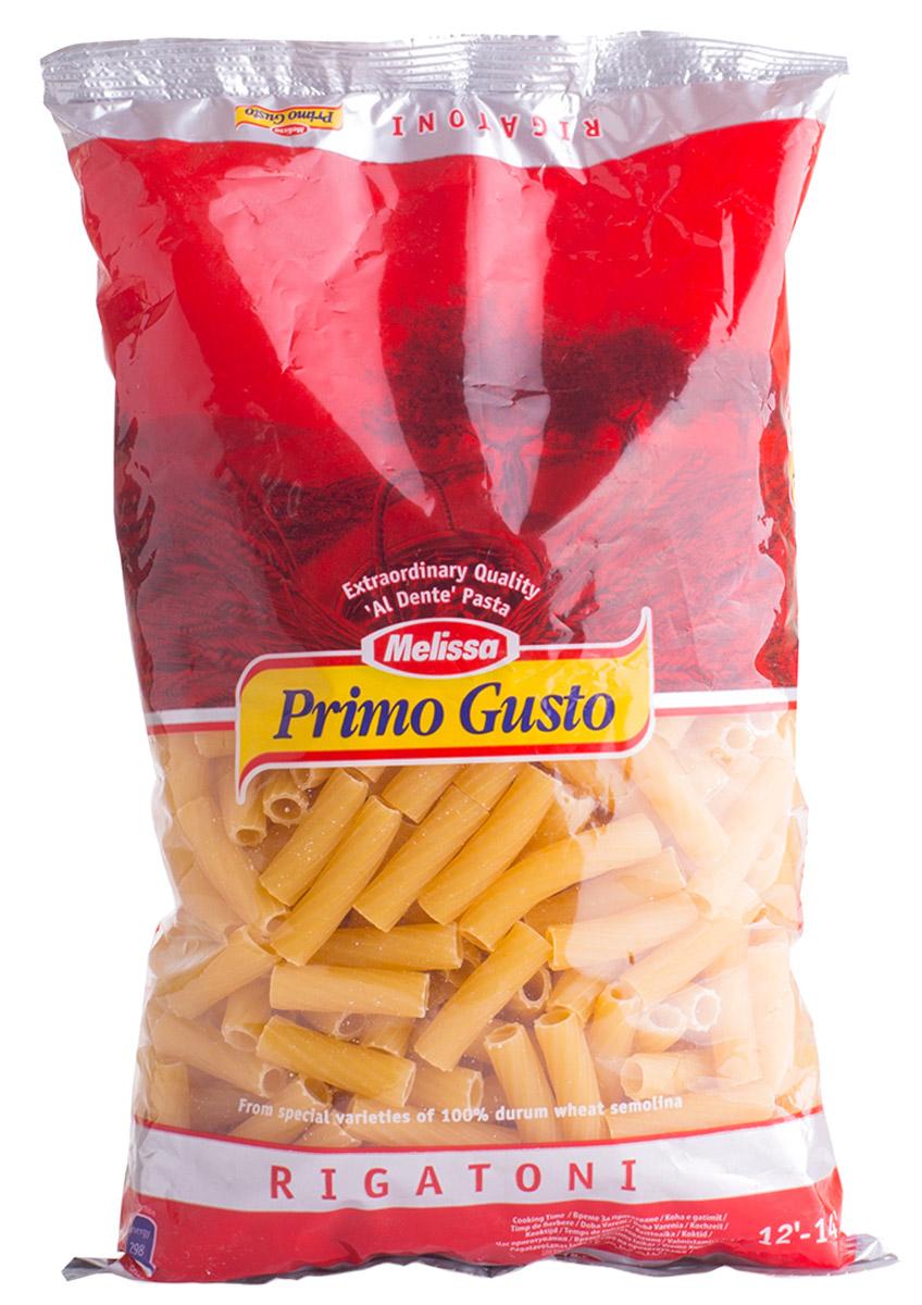 Melissa-Primo Gusto паста Ригатони трубочки, 500 г0120710Макаронные изделия Melissa Primo Gusto производятся исключительно из семолины - муки твердых сортов пшеницы специального (грубого) помола.Семолина используется для приготовления пасты, каши, пудингов и кускуса.