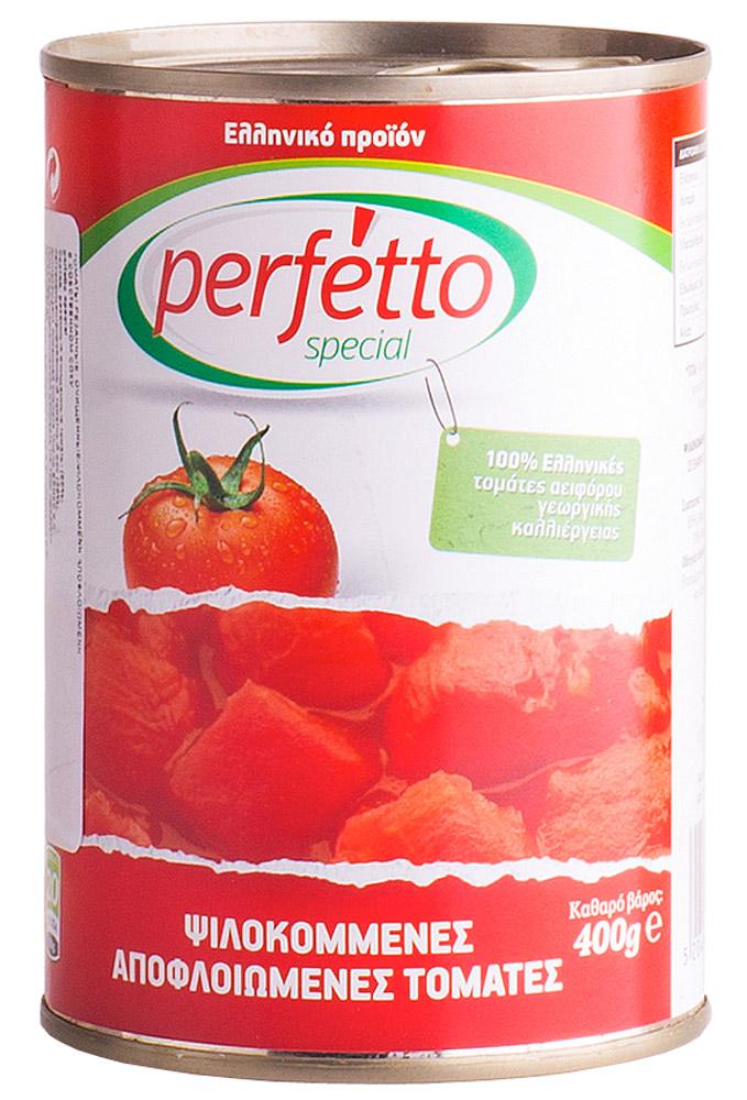 Perfetto specia Томаты резаные очищенные в собственном соку, 400 г2652Томаты Perfetto Special - это красные спелые помидоры, собранные летом в Греции и нарезанные кубиками для вашего удобства! Используйте наши помидоры для приготовления блюд традиционной кухни (борща, гуляша, шурпы, икры из баклажанов и кабачков и т.д.) вместо неспелых, дорогих и невкусных парниковых помидоров!