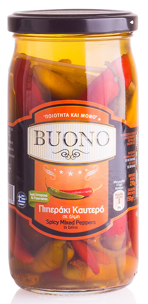 Buono Перец острый ассорти, 270 г0120710Ассорти из острого греческого перчика Buono для любителей пикантных блюд.Его можно использовать как самостоятельную закуску или добавлять к мясу, в салаты и супы.Масса основного продукта 150 г.