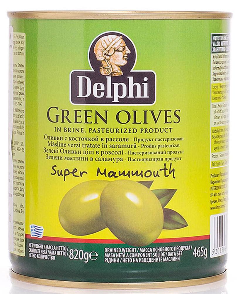 Delphi Оливки с косточкой в рассоле Super Mammouth 91-100, 820 г0120710В жестяной банке находятся зеленые отборные делфи оливки, выращенные на солнечном острове Крит, содержащие косточки, которые залиты рассолом.
