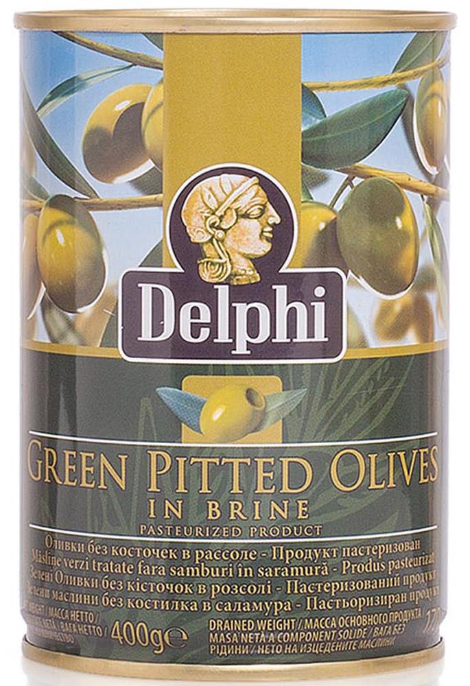Delphi Оливки без косточки в рассоле Superior 261-290, 400 г0120710В жестяной банке находятся зеленые отборные делфи оливки, выращенные на солнечном острове Крит, не содержащие косточек, которые залиты рассолом.
