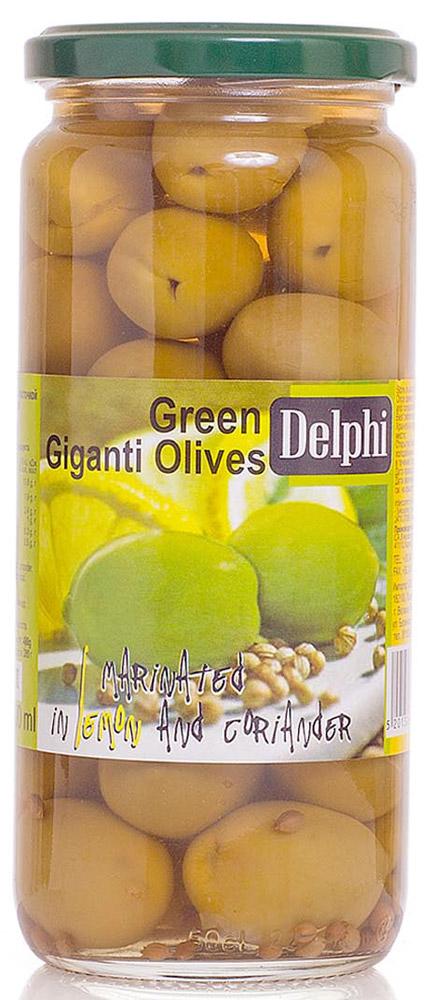 Delphi Оливки с косточкой маринованные с лимоном и кориандром, 480 г75980247В стеклянной банке находятся зеленые отборные делфи оливки, выращенные на солнечном острове Крит, содержащие косточки, которые залиты рассолом.