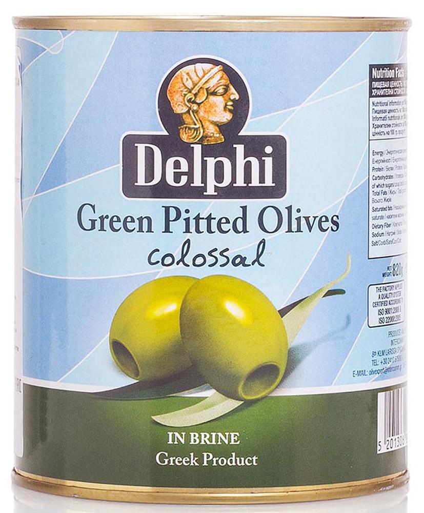 Delphi Оливки без косточки в рассоле Colossal 121-140, 820 г0120710В жестяной банке находятся зеленые отборные делфи оливки, выращенные на солнечном острове Крит, не содержащие косточек, которые залиты рассолом.