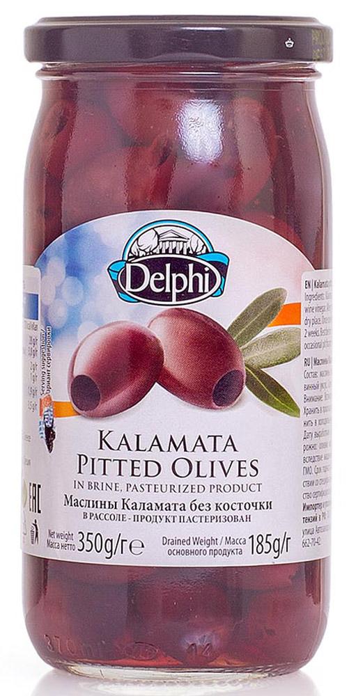 Delphi Маслины без косточки Каламата в рассоле, 350 г0120710Маслиныиз Греции популярны по всему миру благодаряполезным веществам и витаминам, содержащимся в них. Их используют вомногих кухнях мира, в салатах, закусках, пицце.