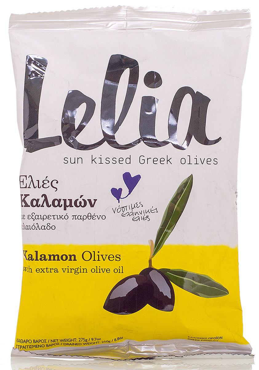 Lelia Оливки с косточкой Kalamon в оливковом масле, 275 г0120710Крупные чёрные оливки с косточкой в оливковом масле - популярный во всем мире греческий деликатес и важная составляющая средиземноморской кухни.Прекрасное сочетание маринада из оливкового масла и небольшого количества уксуса придают оливкам приятный, чуть пикантный вкус. Оливки используют в салатах, в качестве начинки для пиццы, ингредиента для разнообразных соусов, а так же как самостоятельное блюдо, дополняющее стол.
