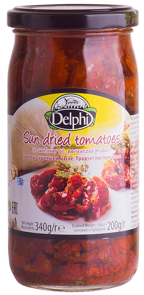 Delphi Томаты сушеные в масле, 340 г0120710Популярная закуска и ингредиент различных блюд. Состоит из сушеных томатов в подсолнечном масле. Добавлены винный уксус, морская соль, каперсы, чеснок и специи.Масло от сушеных томатов можно использовать для заправки салатов и приготовления разных блюд. Сушеные томаты в масле Delphi обладают поливитаминным, регулирующим обменные процессы и деятельность желудочно-кишечного тракта.