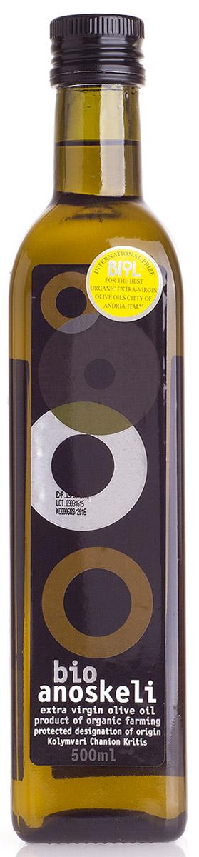 Anoskeli масло оливковое Extra Virgin БИО, 500 мл0120710Оливковое масло Anoskeli - масло первого холодного отжима с кислотностью не более 0,8%. Это критское оливковое масло высшего качества с превосходным ароматом и прекрасным вкусом, имеет марку Колимвари ПДО (Контролируемый Район Происхождения, Protected Designation of Origin), и произведено исключительно механическим способом с применением метода холодного отжима и без использования химических добавок.