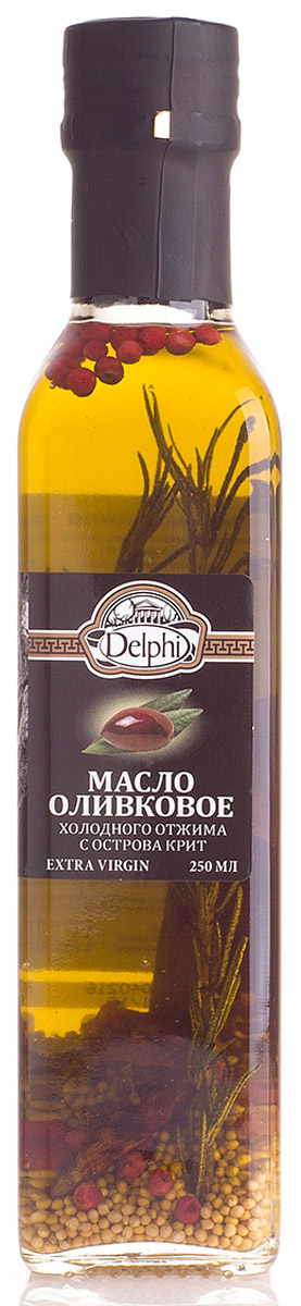 Delphi масло оливковое Extra Virgin с ароматическими травами, 250 мл81.0011,1Масло оливковое холодного отжима с острова Крит Экстра Вирджин. КислотностьОливковое масло получают холодным прессованием самых лучших маслин с острова Крит. Масло рекомендовано для профилактики как сердечно-сосудистых, так и желудочно-кишечных заболеваний, благодаря натуральным веществам, которые содействуют защите организма от болезней и старения.