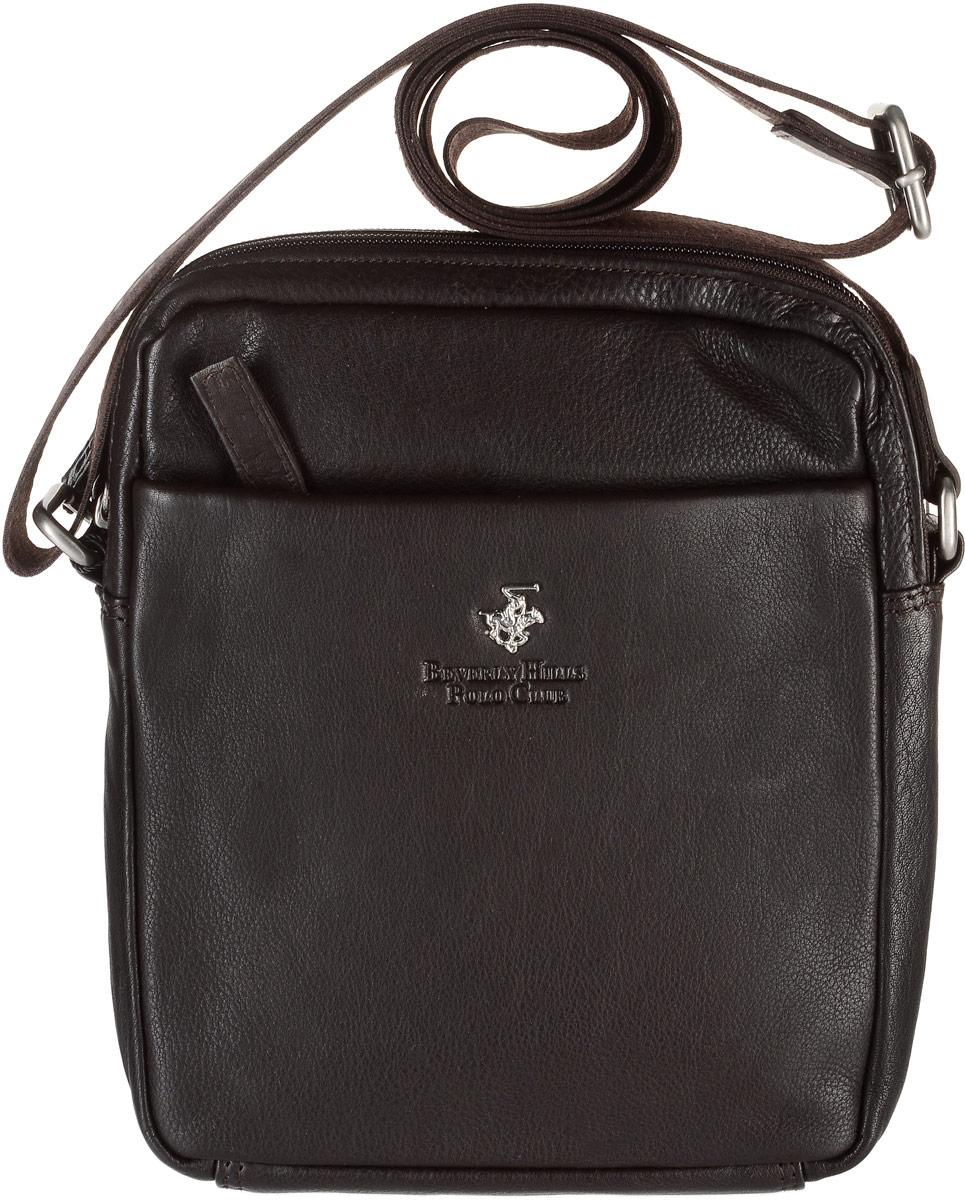 Сумка-планшет мужская Beverly Hills Polo Club, цвет: темно-коричневый. 302BM8434-58AEСтильная мужская сумка-планшет Beverly Hills Polo Club выполнена из высококачественной натуральной кожи. Сумка имеет два основных отделения, которые закрываются на застежки-молнии. Внутри одного из отделений находятся прорезной карман на застежке-молнии и мягкий карман для планшета, закрывающийся на хлястик с липучкой, в другом - накладной открытый карман и два держателя для авторучек. Снаружи, на передней и задней стенках расположены накладные карманы на застежках-молниях. Сумка оснащена регулируемым текстильным плечевым ремнем.