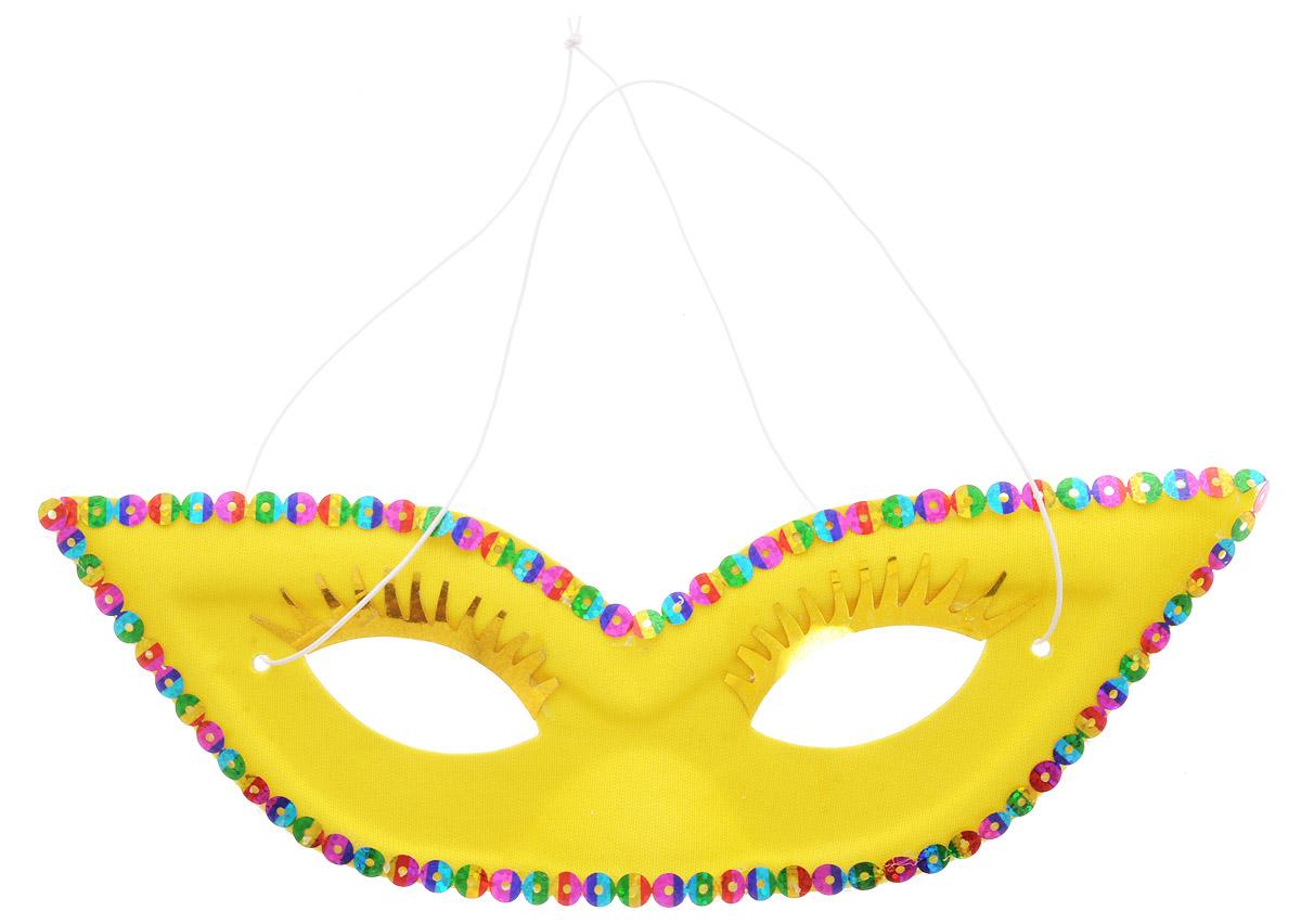 Rio Маска карнавальная с ресницами цвет желтый -  Маски карнавальные