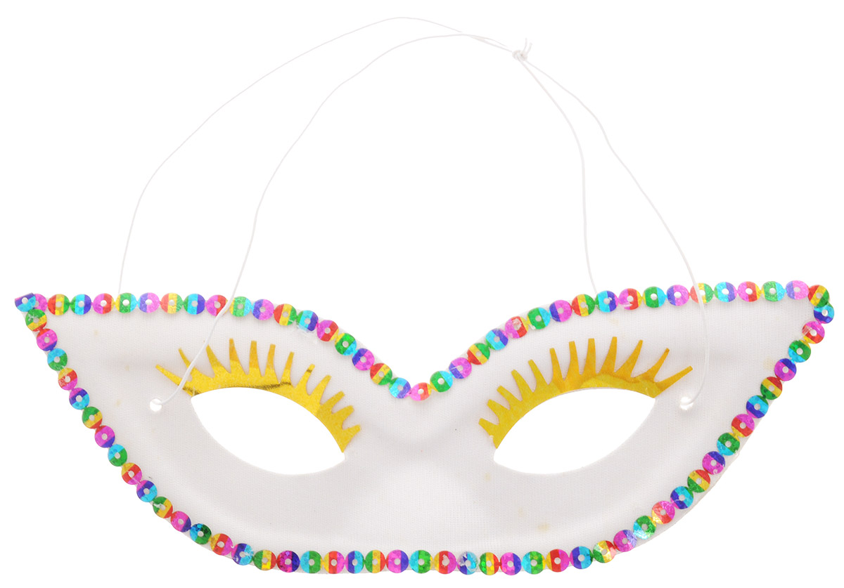 Rio Маска карнавальная с ресницами цвет белый -  Маски карнавальные