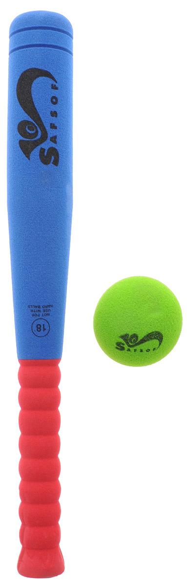 Safsof Игровой набор Бейсбольная бита и мяч цвет зеленый синий бордовый