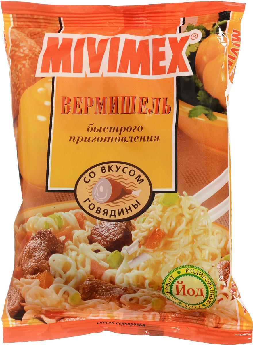Mivimex Вермишель быстрого приготовления в брикете со вкусом говядины, 50 г0120710Вермишель быстрого приготовления Mivimex со вкусом говядины.Содержимое упаковки залейте достаточным количеством кипящей воды (250 мл.). Накройте крышкой, подождите 3-5 минут и тщательно перемешайте. Блюдо готово.Приятного аппетита!