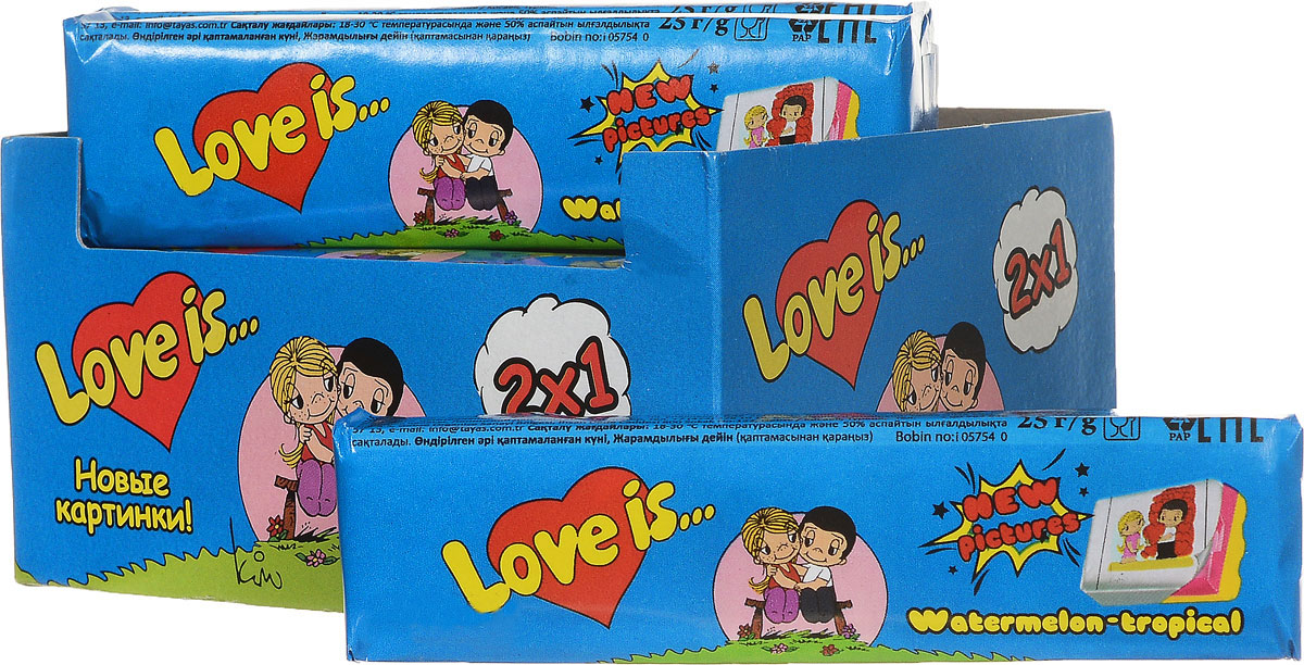 Love is Арбуз-тропик жевательные конфеты, 12 шт4607039270860Фруктовый взрыв вкуса! Love is Арбуз-Тропик - это ириски-стики, сочетающие в себе арбузную свежесть и сладость тропических фруктов. В каждой конфете содержится 5 вкладышей с героями Love is.Блок из 12 конфет - отличный подарок или сюрприз для любимых.