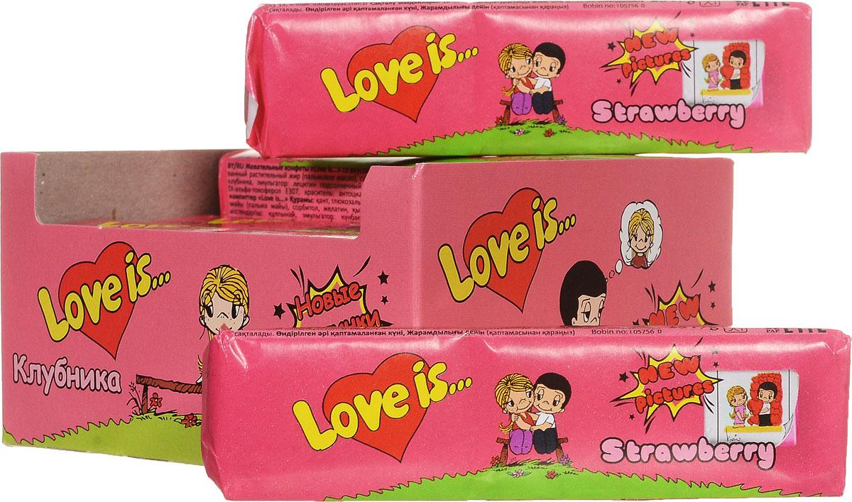 Love is Клубника жевательные конфеты, 12 шт13863Любви не может быть много ! Порадуйте любимых клубничным десертом с вишневым ароматом от Love is. В блоке 12 конфет, каждая конфета - это пять жевательных стиков с вкладышами новой серии.