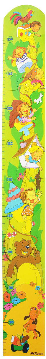 Step Puzzle Ростомер-пазл Веселые ребята28116Ростомер-пазл Step Puzzle Веселые ребята - это деревянный пазл для измерения роста детей. Состоит из 4 элементов. Ростомер-пазл с забавными животными и ребятишками способствует развитию малыша (яркие картинки и занимательная сборка пазла), помогает наблюдать за ростом ребенка (простой и эффективный способ наблюдения), служит отличным украшением детской.Особенности: идеальная сцепка, экологически чистый материал, гладкие детали.