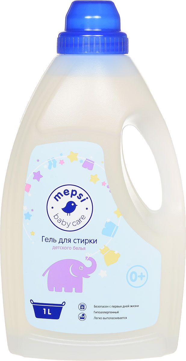 Mepsi Гель для стирки детского белья 1 л391602Гель для стирки детского белья Mepsi производится по ГОСТу и предназначен для использования в стиральных машинах любого типа и ручной стирки.Подходит для белья грудных младенцев с первых дней жизни. Производится без использования фосфатов, сульфатов и красителей. Является гипоаллергенным. Полностью выполаскивается водой. Изготавливается на основе артезианской воды. Не разрушает волокна тканей, предотвращает смывание цвета. Не имеет агрессивных составляющих.Для всех типов стиральных машин и ручной стирки. Рекомендуемая температура стирки от +30 до +60С.Состав: вода артезианская, АПАВ 5-15%, НПАВ Товар сертифицирован.