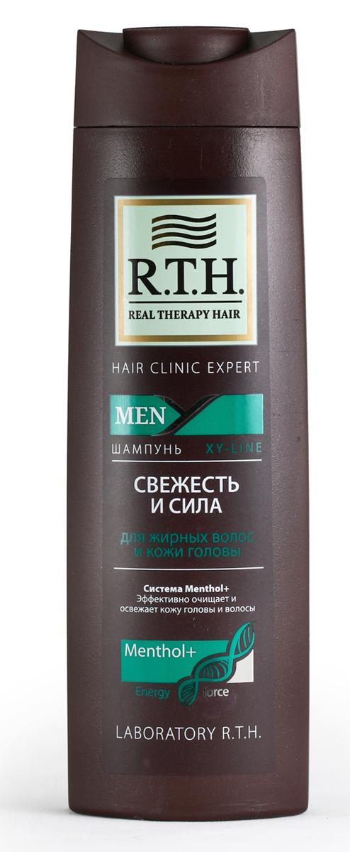 Шампунь R.T.H. Men Свежесть и сила4604903000158Предназначен для восстановления естественного баланса иощущения свежести кожи головы и волос. Система сМентолом икомплексом витаминов питает иукрепляет корень истержень волоса. Экстракт ментола оказывает непревзойденный освежающий эффект и нормализует естественный баланс кожи.