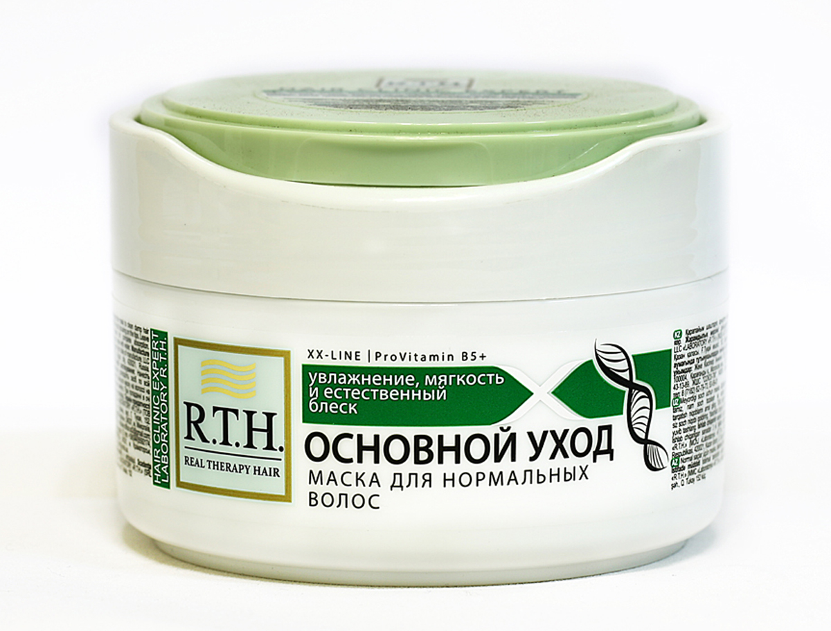 Маска R.T.H Основной уход870204Оказывает глубокое увлажняющее, восстанавливающее и защитное действие. Дарит волосам необходимый уход, здоровый блеск, невероятную мягкость и эластичность. Благодаря входящим в состав натуральным полиэфирам растительного происхождения и витамину B5 маска придает волосам гладкость, предотвращая повреждение волос и предупреждая проблему секущихся кончиков и ломкости