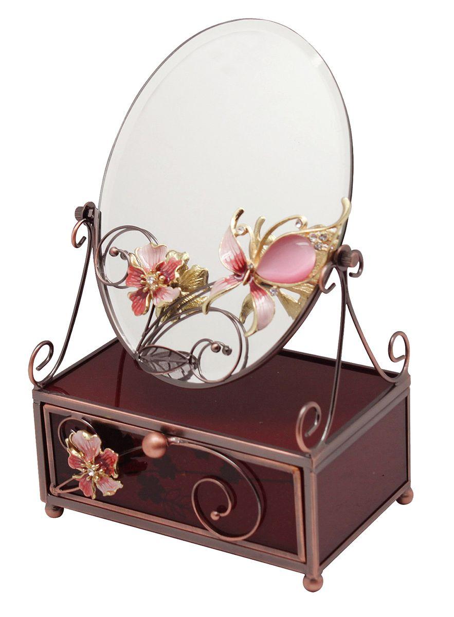 Шкатулка Jardin dEte Багровый закат, с зеркалом, 13 х 9 х 20 смRG-D31SШкатулка с зеркалом Багровый закат от компании Jardin DEte является вершиной изящества и простоты. Представленное изделие станет замечательным подарком той женщине, которая ценит красоту форм.У шкатулки одно отделение, которое вы сможете использовать по своему усмотрению: хранить там украшения, деньги или косметические принадлежности. Такая вещь украсит любой интерьер и не останется незамеченной на туалетном столике. Изделие изготовлено из прочного пластика и стали. Зеркало украшено нежным розовым цветком.