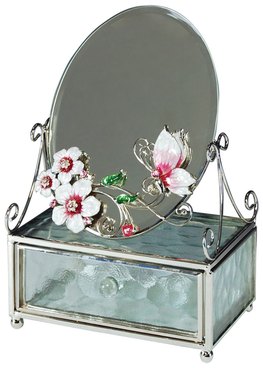 Шкатулка Jardin dEte Розовая глазурь, с зеркалом, 13 х 6 х 20 см10850/1W GOLD IVORYсталь, стекло
