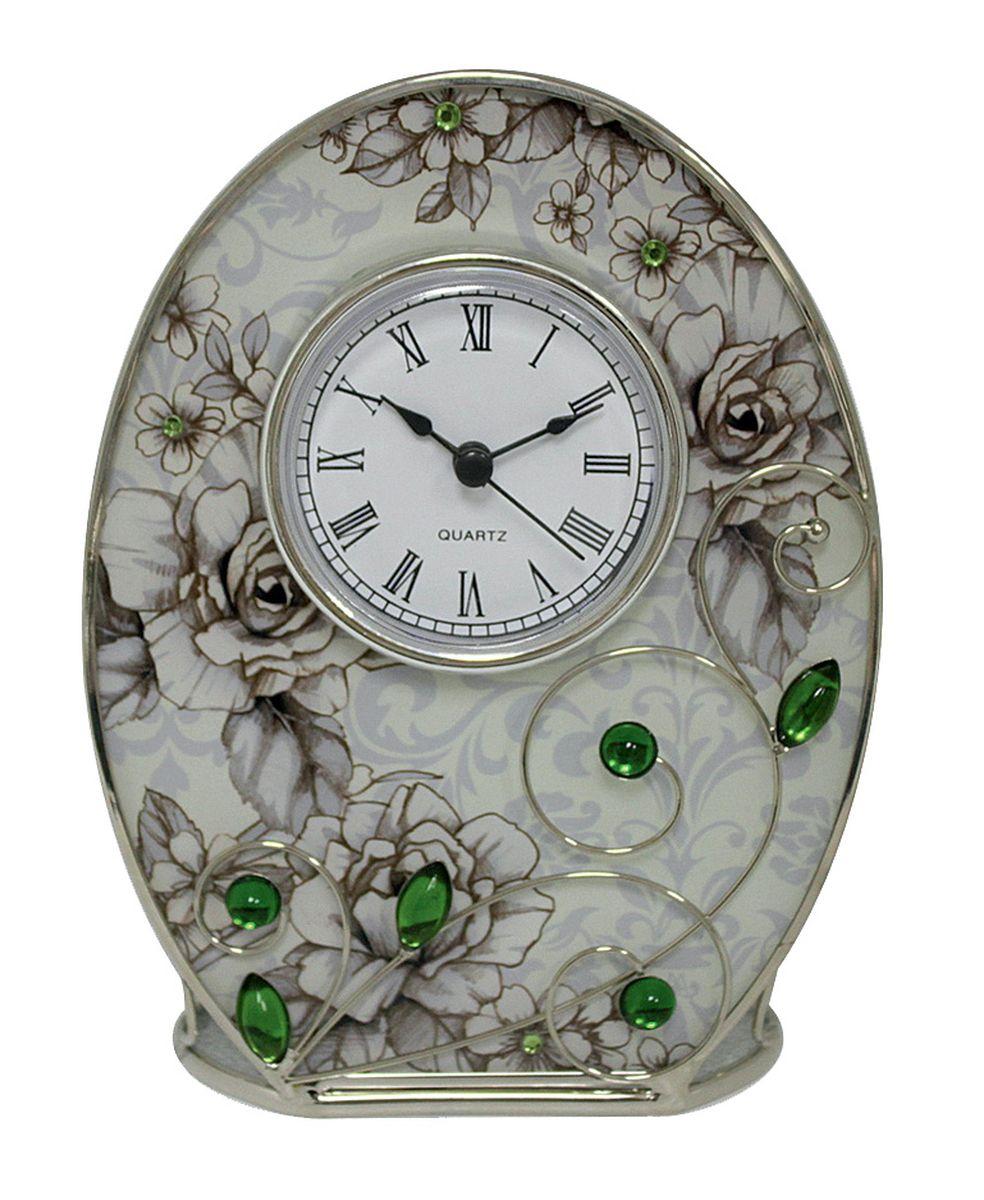 Часы настенные Jardin dEte Благородный изумруд, 12,5 х 16,5 см94672Часы Jardin DEte Благородный изумруд станут оригинальным и стильным украшением интерьера офиса, спальни или гостиной. Кроме того, практичный презент из Франции обязательно оценят по достоинству друзья, коллеги и близкие люди.Корпус кварцевых часов изготовлен из стали и стекла, благодаря чему приобрел уникальный дизайн и надёжность. Лицевая сторона декорирована цветочным принтом с зелеными стразами. Циферблат выполнен в чёрно-белых тонах с римскими цифрами. В комплект включена фирменная упаковка.