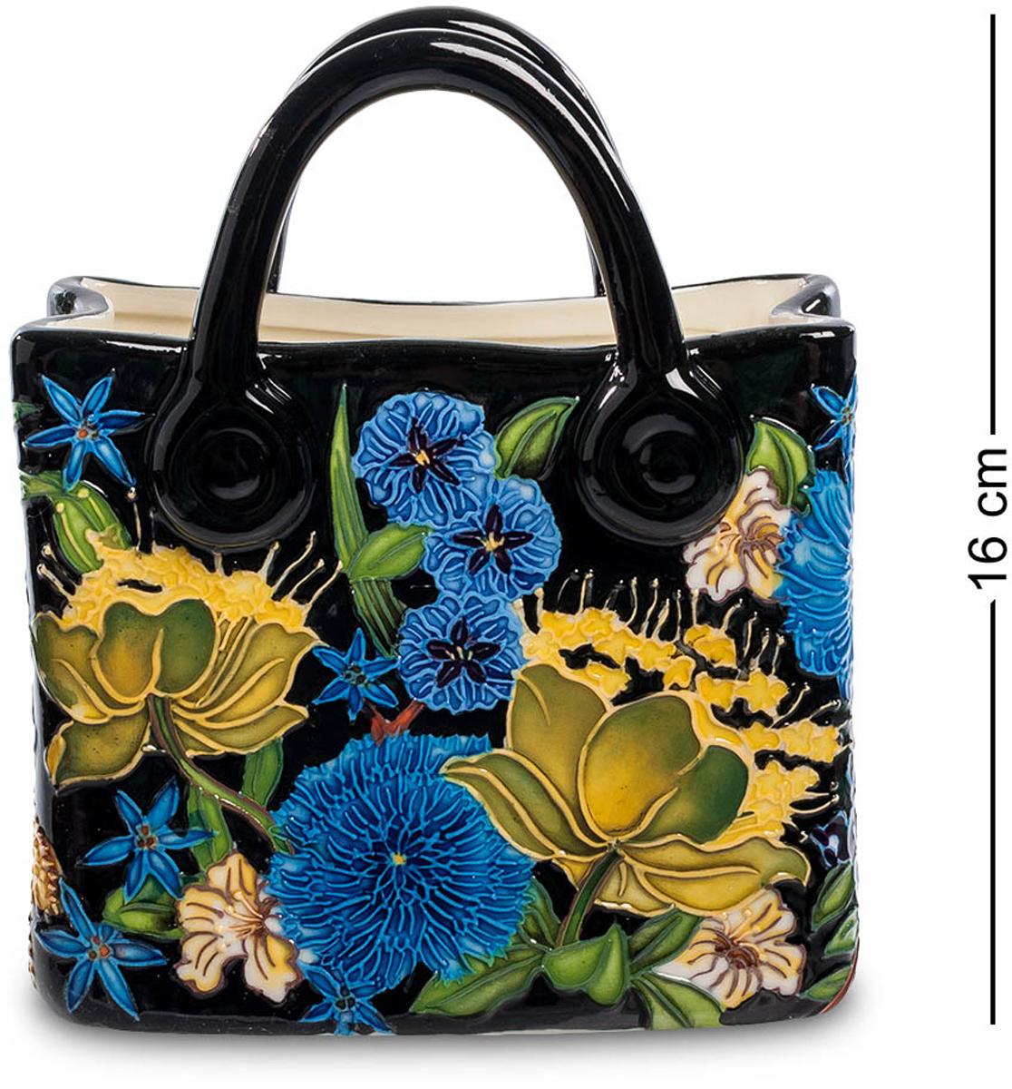 Ваза-кашпо Pavone Сумочка. JP-670/ 2FS-91909Ваза высотой 16 см.Интересная ваза-кашпо очень напоминает женскую сумочку. Ее изысканность подчеркнута интересной расцветкой, которая ассоциируется с красками лета. Для изготовления кашпо использовался фарфор, основной цвет вазы – черный, на котором гармонично расцвели ярко-голубые и желтые цветы, которыми оформлено ее основание.