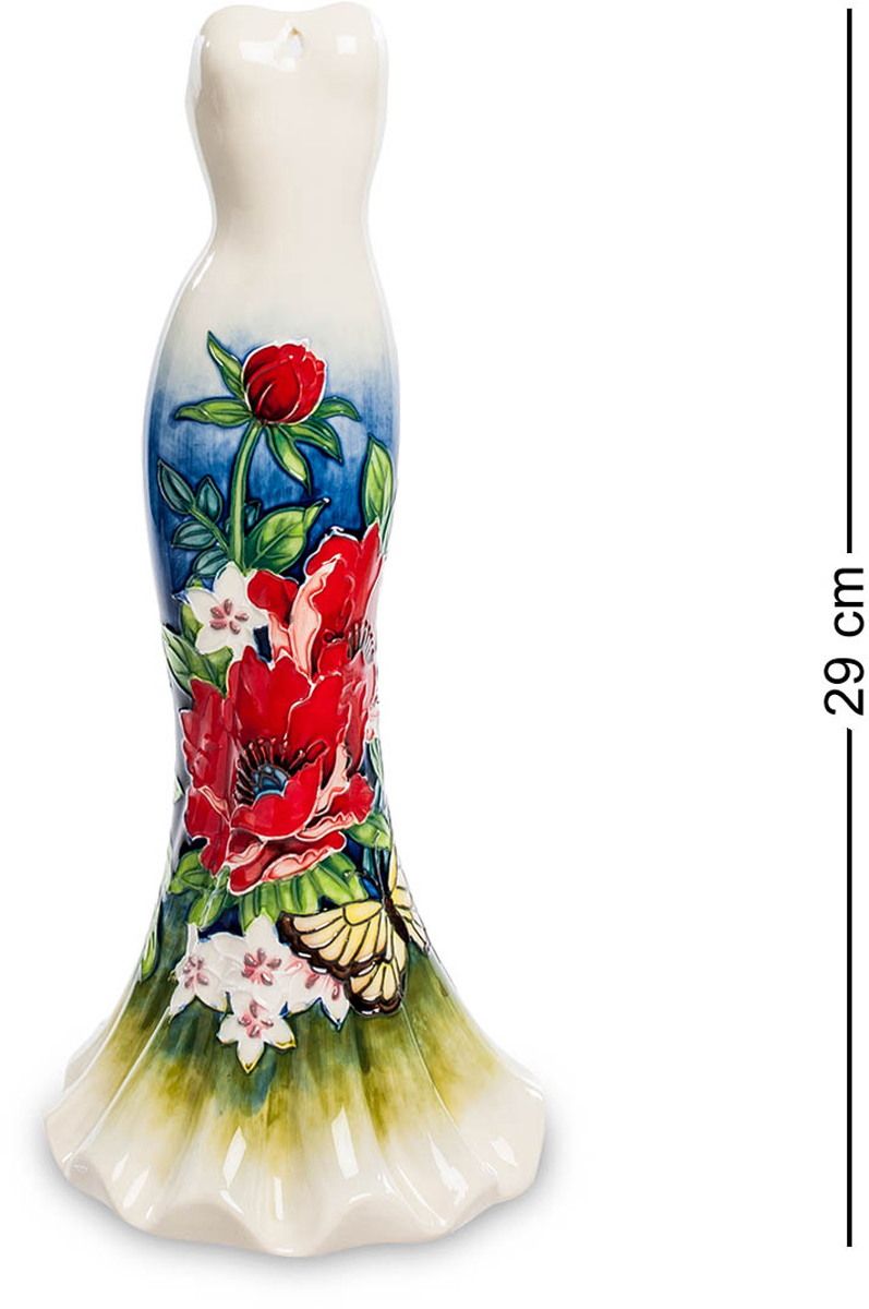 Ваза Pavone Платье. JP-852/10FS-80299Ваза высотой 29 см.Ваза-Платье - от лучших гончарных кутюрье!Это одиноко стоящее платье удивительно красиво. Оно в разных частях окрашено по-разному: от щиколоток до бедер его покрывают яркие красивые узоры, составленные из листьев, разноцветных цветов и пестрых бабочек. Выше пояса платье имеет однотонную светлую окраску: ничто не должно затмевать красоту самой обладательницы этого платья. Обратите внимание: в платье сейчас никого нет, и оно может послужить вазочкой. Налейте в нее воду и поставьте букет живых цветов. Если вам удастся добиться их гармонии с цветами на платье, эффект будет потрясающим. Но эта ваза и без цветов привлечет к себе пристальное внимание и украсит собой всю комнату.