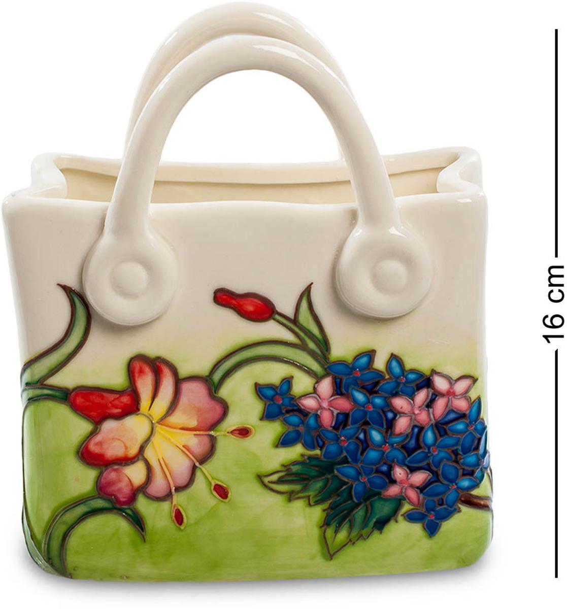 Ваза-кашпо Pavone Сумочка. JP-800/28FS-91909Ваза-кашпо Сумочка (Pavone)Ну почему бы не подарить сумочку, полную цветов! Корзины же с цветами дарят. Вот эта сумочка – не для выхода в свет, ее назначение – только цветы. Эта фарфоровая емкость представляет собой вазу для цветов, в которую можно налить воды и заполнить пространство целой охапкой цветов. Но даже если в вазу ничего не поставлено, она сама напоминает клумбу с цветами – по ее поверхности на бледно-зеленом травяном фоне расположены разнообразные цветы, мелкие и крупные, с листьями и веточками. Над ними птички порхают – настоящий летний пейзаж, о котором приятно будет подумать суровой зимой. Подарите вечное лето – что может быть лучше!