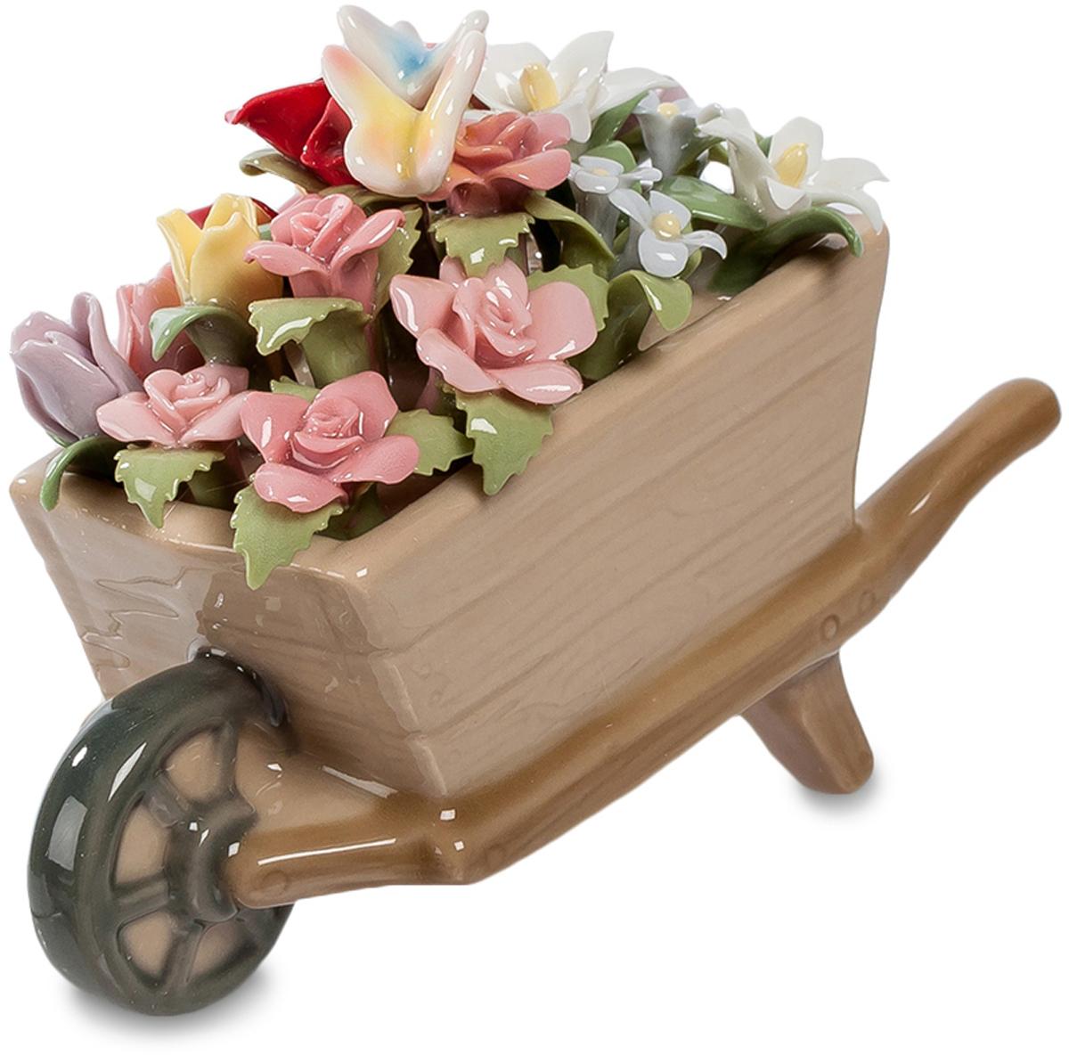 Композиция Pavone Тележка. Весенние цветы. CMS-33/43FS-80299Композиция тележка Весенние цветы (Pavone) Подарить букетик цветов – это, конечно, хорошо. Но не всегда хочется поступать так скромно: думая о легендарном миллионе алых роз, хочется собрать столько цветов, чтобы они даже в руках не поместились. И привезти их в тележке – все, какие удастся найти в саду! Вот она, эта тележка с цветами, деревянная, доверху наполненная цветами. Примечательно не только количество цветов, но и их материал: они выполнены из тончайшего фарфора, так что сразу им не понять, что это – не живая природа. Зато такая корзинка цветов будет стоять долго, цветы в ней не завянут, и каждое утро будут напоминать о том, кто их подарил – целую, хоть и маленькую, тележку.