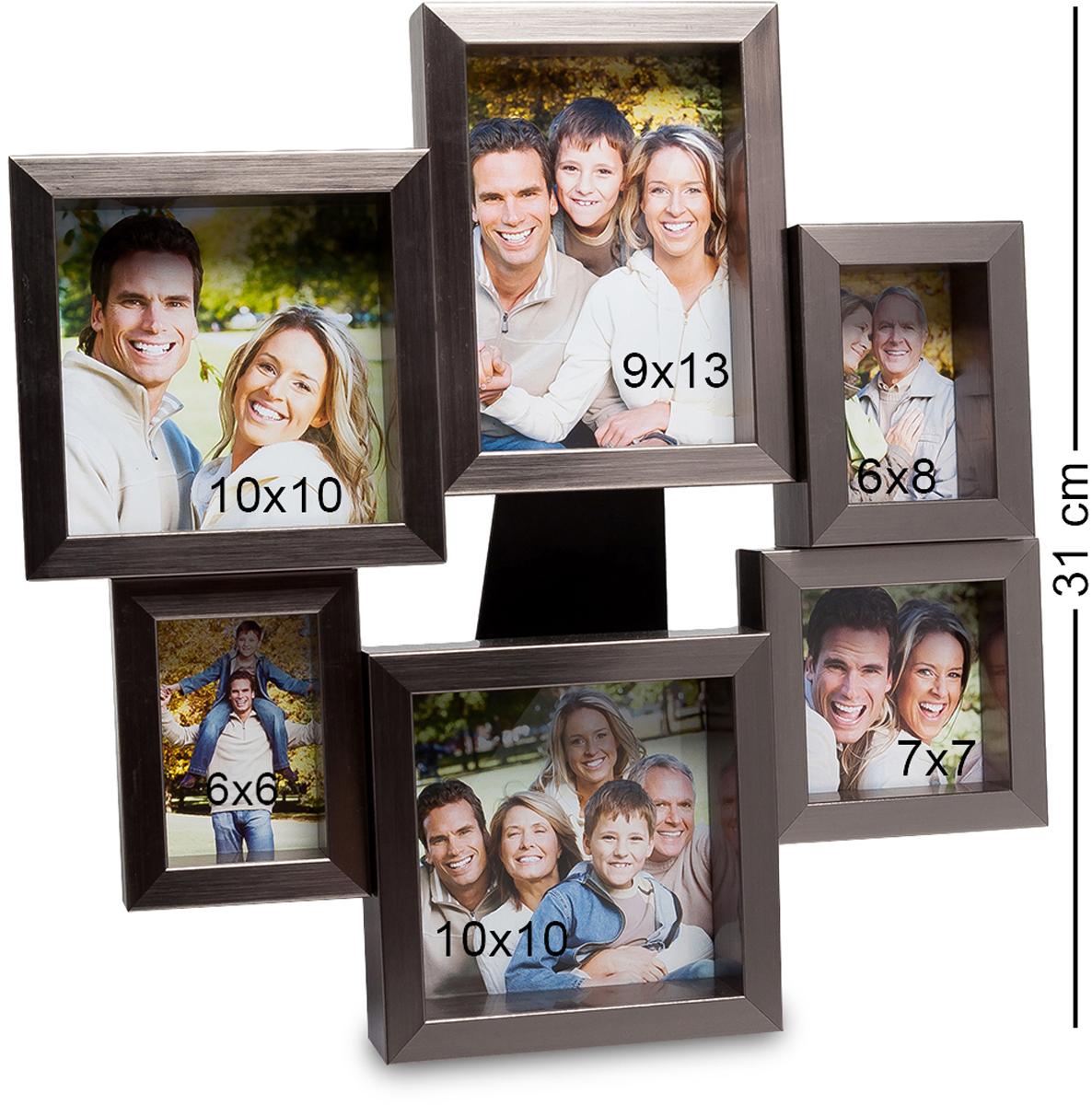 Панно из фоторамок Bellezza Casa Семейная история, на 6 фото: 9х13, 6х8, 7х7, 10х10. CHK-13574-0060Панно из фоторамок на 6 фото для фотографий 5х8, 9х13, 10х10 и 9х9 см.Фоторамка настенная украсит ваши комнаты красивыми фотографиями. Она необычная, неординарная, рамочки расположены, как бы по кругу и отличаются своим размером. То есть вы сможете вложить в них не только фото одного размера, но и разные. Это могут быть как фото любимого мужа и жены, драгоценных детишек и других членов семьи. На настенной фторамке Семейная история места хватит всем. Она не просто оригинальна, но и красива. И, что в ней привлекает, кроме всего прочего, так это ее цвет. Изысканный, дорогой цвет металла делает и саму рамку дорогой и роскошной.
