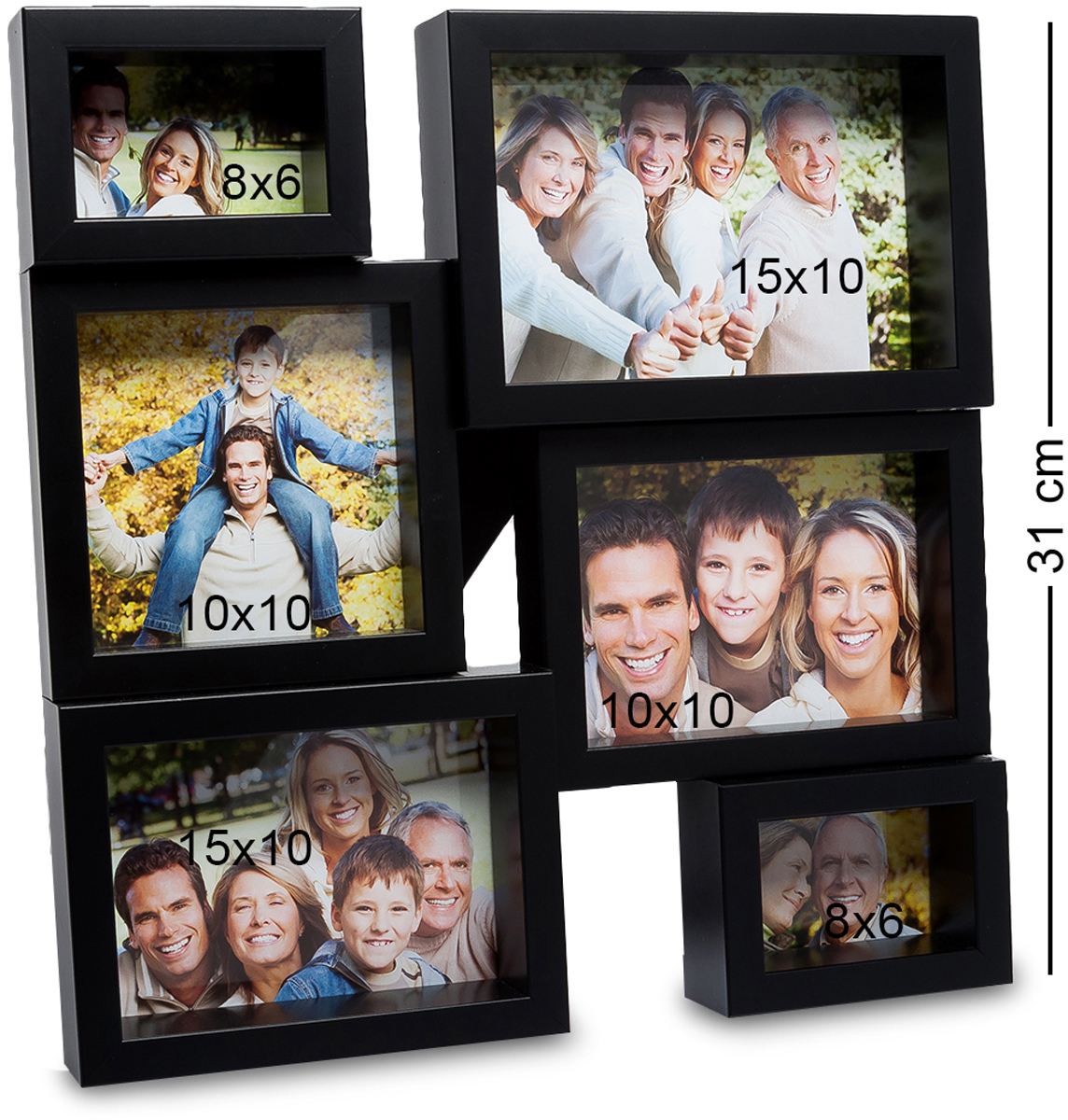 Панно из фоторамок Bellezza Casa Семейная история, на 6 фото: 8х6, 10х10, 15х10. CHK-13828907 4Панно из фоторамок на 6 фото для фотографий 8х6, 10х10 и 15х10 см.Раньше считалось, что фоторамка в подарок – это что-то глупое и, что у человека ее подарившего нет фантазии. Но времена меняются и фоторамку Семейная история несомненно, захотели бы получить все, кто ее видели. Фоторамка выполнена из пластика, черная отделка смотрится современно, модно. А еще, сама рамка, рассчитанная на 6 фотографий, станет модной изюминкой любой комнаты, будь-то гостиная или спальня.